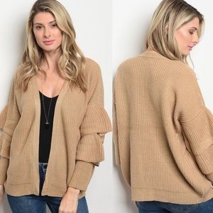 Tan Ruffle Sleeve Sweater Cardigan